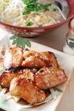 Roasted pork jowl. Japanese cuisine roasted pork jowl w/noodle stock photos