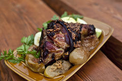 Roasted pork knuckle with beer and mustard Stock Photo
