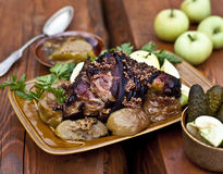 Roasted pork knuckle with beer and mustard Stock Images