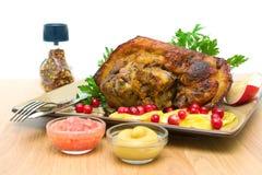 Roasted pork knuckle close-up Stock Images