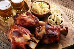 Roasted pork knuckle. Ham and bacon are popular foods in the west. German Schweinshaxe or Haxe. Roasted pork knuckle. Ham and bacon are popular foods in the royalty free stock photography