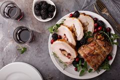 Roasted pork with apple filling Stock Photos