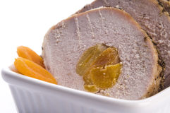Roasted pork loin with apricots Stock Images