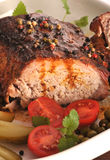 Roasted pork loin with pepper Royalty Free Stock Photo