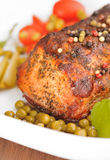 Roasted pork loin with pepper royalty free stock images