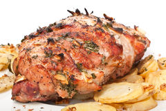 Roasted Pork Loin with Potatoes Stock Image