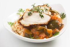 Roasted pork loin with rice ande vegetables Royalty Free Stock Photos