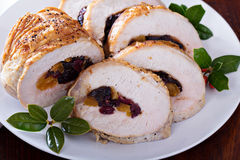 Roasted pork loin stuffed with dried fruits Stock Image