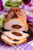 Roasted pork loin stuffed with prune Stock Photos