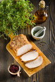Roasted pork loin on the the table Stock Photo