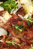 Roasted pork meat with vegetable Royalty Free Stock Image
