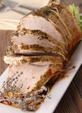 Roasted pork with mustard and herbs Royalty Free Stock Photo