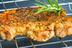 Roasted pork neck on barbecue Royalty Free Stock Images