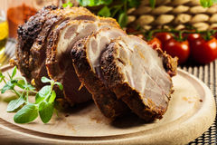 Roasted pork neck with spices Royalty Free Stock Photos