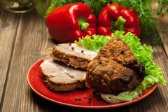 Roasted pork neck with spices stock photos