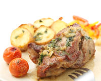 Roasted pork with potatoes isolated Stock Images