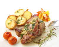 Roasted pork with potatoes isolated Royalty Free Stock Photo