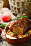 Roasted Pork Rack with Apples Stock Photos
