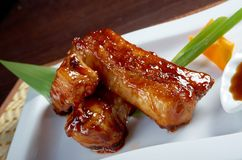 Roasted pork ribs in a plate Royalty Free Stock Photos