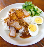Roasted pork rice , Thai food Stock Photography