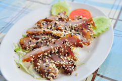 Roasted pork with sesame, Thai food style Royalty Free Stock Photo