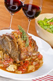 Roasted Pork Shoulder, Red Wine and Green Salad #1 Royalty Free Stock Images