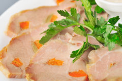 Roasted pork slices Stock Images