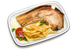 Meat and chips Royalty Free Stock Images