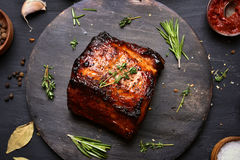 Roasted pork, top view Royalty Free Stock Images