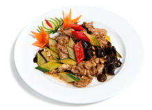 Roasted pork with vegetables on a plate Royalty Free Stock Photos