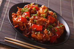 Roasted pork with vegetables in sour-sweet sauce close-up. horiz Royalty Free Stock Photos