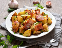 Roasted potato with bacon Stock Images