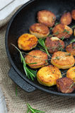Roasted potato with sea solt and thyme seasoning Royalty Free Stock Photo