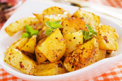 Roasted potato in white bowl Royalty Free Stock Photo