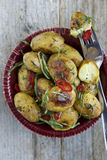 Roasted Potatoes. Roasted New Potatoes with Basil and Chili Royalty Free Stock Image