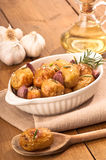 Roasted Potatoes With Garlic Stock Photo