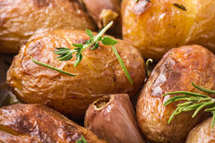 Roasted potatoes with garlic Stock Image