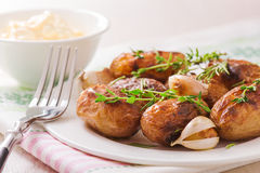 Roasted potatoes with garlic Royalty Free Stock Images