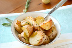 Roasted potatoes with herbs Stock Photo