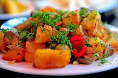Roasted potatoes with mushrooms Stock Photography