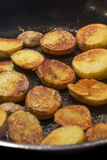 Roasted Potatoes in a pan Stock Image