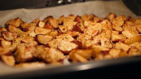 Roasted Potatoes with Rosemary, Garlic, Pepper and Thyme in the Oven. Healthy Vegan Diet or Cooking Recipe Concept 4K Footage. stock footage
