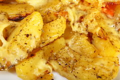 Roasted potatos with cheese as background Royalty Free Stock Image