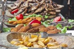 Roasted potatos and chicken Stock Photos