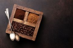 Roasted and powder coffee stock images
