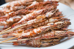 Roasted prawn on the dish Royalty Free Stock Images