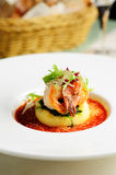 Roasted prawn with mashed potato Royalty Free Stock Images