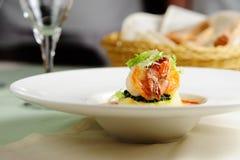 Roasted prawn with mashed potato Royalty Free Stock Images
