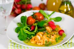 Roasted Prawns with Salad of Corn Salad,radish,Che Royalty Free Stock Photography