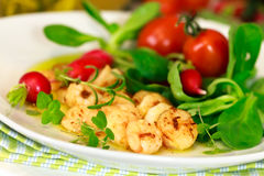 Roasted Prawns with Salad of Corn Salad,radish,Che Stock Photo